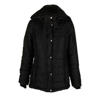 Rampage Juniors Classic Black Sliver Hooded Full Zip And Snap Puffer Coat XS