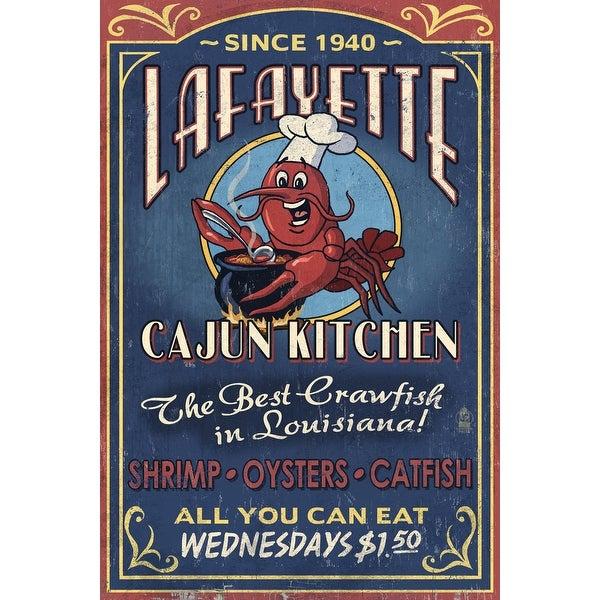 Lafayette LA Cajun Kitchen Vintage Sign LP Artwork (100% Cotton Towel Absorbent)