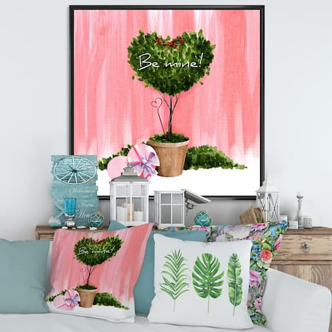 Designart 'Heart Shaped Valentine House Plant' Farmhouse Framed Canvas Wall Art Print