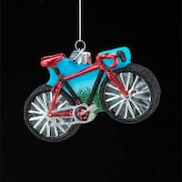 Pack of 8 Noble Gems Glass Red and Black Glitter Bicycle Christmas Ornaments 4""
