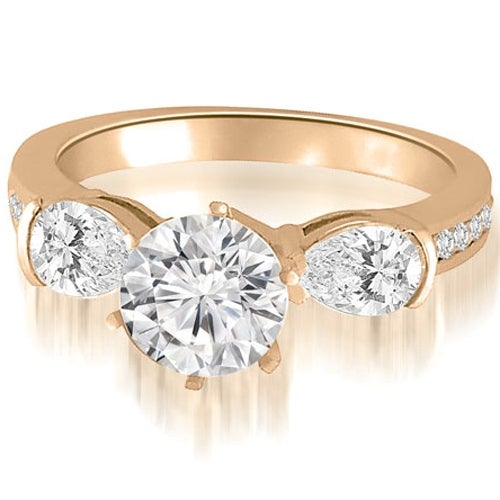 2.00 cttw. 14K Rose Gold Three-Stone Round And Pear Diamond Engagement Ring