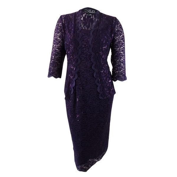 Shop Alex Evenings Womens Plus Size Sequin Lace Dress Jacket 16w