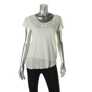 Zara T-Shirt Collection Womens Linen Embroidered T-Shirt - S
