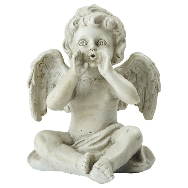 "6.5"" Gray Sitting Decorative Cherub Angel Outdoor Garden Statue - N/A"