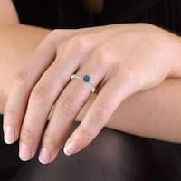 Prism Jewel 0.37 Ctw Classic Blue Color Diamond with Diamond Engagement Halo Ring