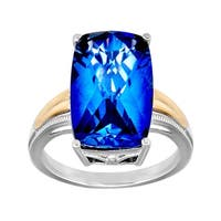 10 ct Ceylon Sapphire Ring in Sterling Silver and 14K Gold - Blue