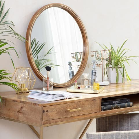 Marlo Modern Mirror With Brass Inlay - Natural Wood