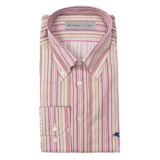 Etro Aqua Blue Cotton Vertical Striped Print Button Down Shirt