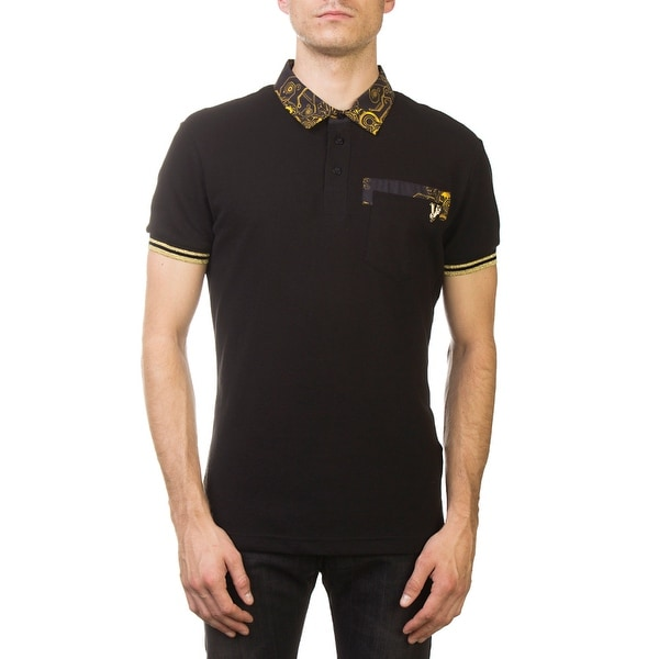 fe30b6ede Versace Jeans Couture Pique Cotton Ribbed Baroque Polo Shirt Black Gold.  Click to Zoom