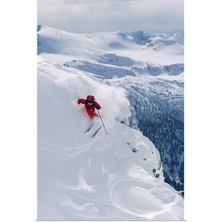 """""""Downhill skier turning on slope"""" Poster Print"""