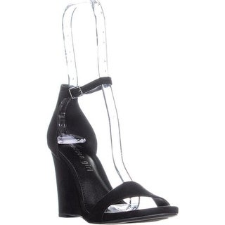 Madden Girl Willoow Wedge Ankle Strap Sandals, Black
