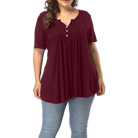 Women's Short Sleeve V Neck Henley Shirt Buttons Up Pleated Tunic Tops