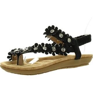 Link Calista68 Kids Petal Rhinestone Flower Ankle Strap Slingback Thong Sandals