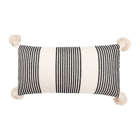 Cream Cotton & Chenille Pillow with Vertical Stripes, Tassels & Solid Cream Back