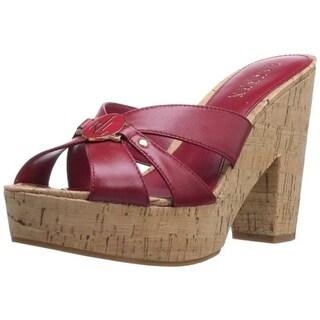 Lauren Ralph Lauren Womens Heidi Leather Slide Platform Sandals