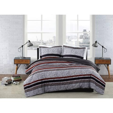 London Fog Warren Stripe 3 Piece Comforter Set