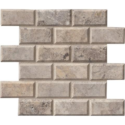 "MSI SMOT-TRA-2x4HB 2"" x 4"" Brick Joint Mosaic Tile - Honed Travertine - Silver"