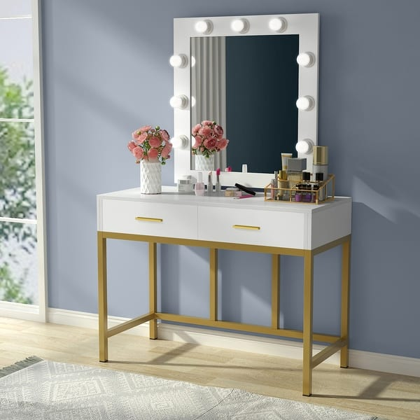 Shop Vanity Table With Lighted Mirror 2 Drawers Makeup Table Overstock 31301008