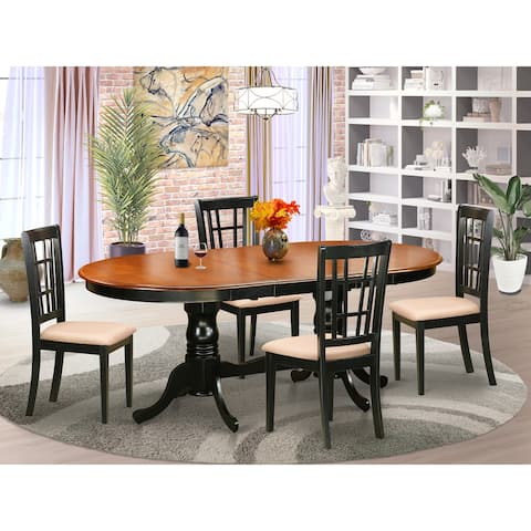 5-piece Dining Room Set - Wooden Table and Modern Dining Room Chairs - Black and Cherry Finish (Finish Pieces Option)
