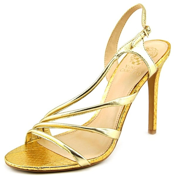 Vince Camuto Tiernan Women Open-Toe Leather Gold Slingback Sandal