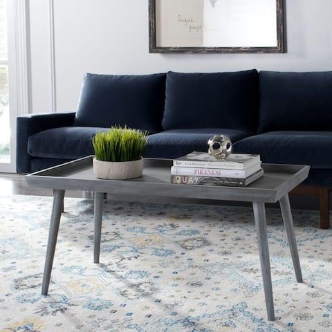 "SAFAVIEH Nonie Slate Grey Coffee Table with Tray - 41.8"" x 21.8"" x 19"""