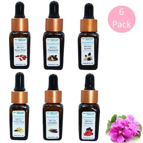 Beaver Brook Floral Essential Oil Bottle Dropper - 6 Pack - Pink - 12ml