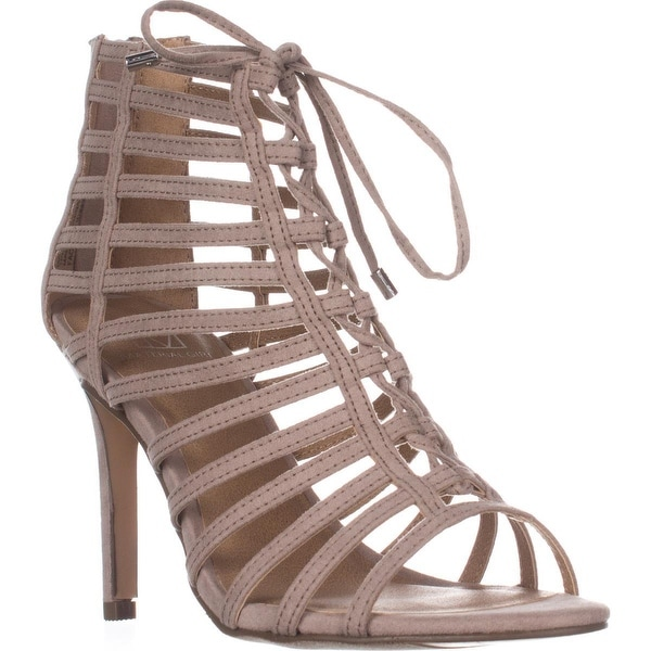 MG35 Raquel Gladiator Ankle Booties, Taupe