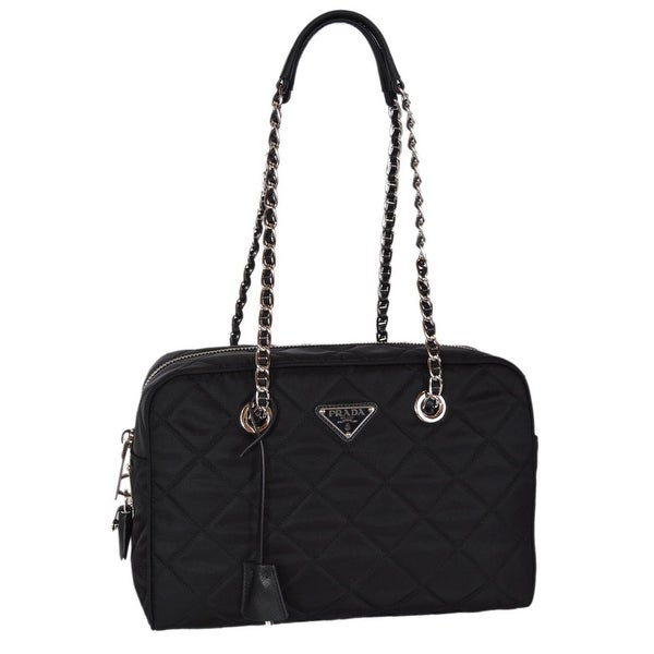 791336a9af7c NFG Prada Black Quilted Nylon Tessuto Impuntu Chain Strap Shoulder Purse  Handbag - 12