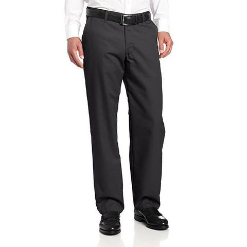 Lee Men's Total Freedom Relaxed Fit Flat Front Pant - 42W x 30L - Black