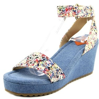 Rocket Dog Edda Women Open Toe Canvas Blue Wedge Sandal