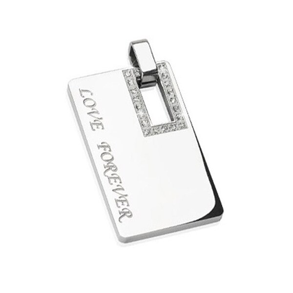 "Stainless Steel Gem Paved Square ""Love Forever"" Engraved Pendant (25 mm Width)"
