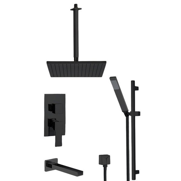 Nameeks TSR9506 Remer Shower Tub and Shower Trim Package with Single Function Rain Shower Head, Hand Shower, Slide Bar, and