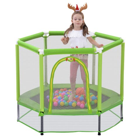 """Nestfair 55"""" Green Trampoline with Safety Enclosure Net and Balls"""