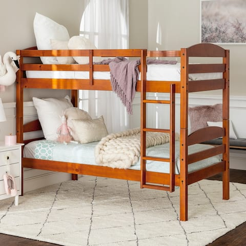 Taylor & Olive Christian Wood Twin Over Twin Bunk Bed - Cherry