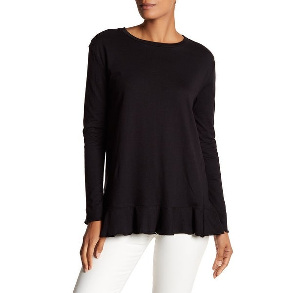 e8232841c48c72 Shop Philosophy NEW Black Women's Size XS Knit Top Flounce Hem Cotton Tee - Free  Shipping On Orders Over $45 - Overstock - 21164670