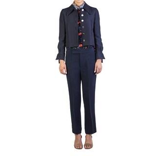 Miu Miu Women's Polyester Cotton Blend Buttoned Coat Navy - 40