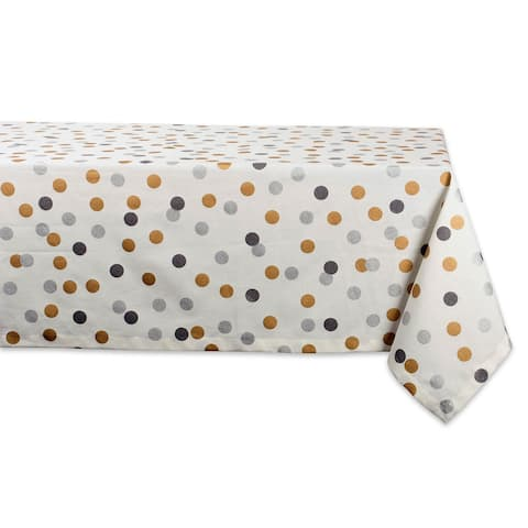 """52"""" White and Gold Colored Polka Dots Square Tablecloth"""