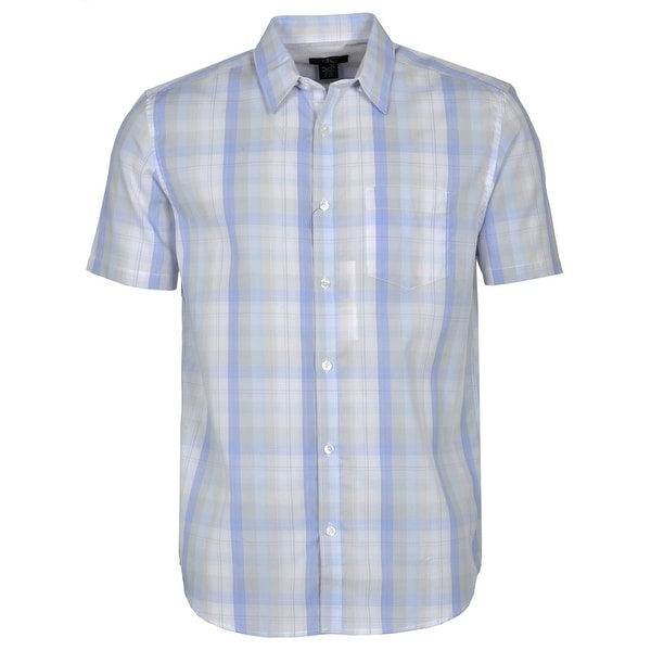 Calvin Klein Check Short Sleeve Shirt Light Blue and White
