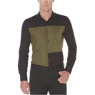 Perry Ellis Slim Fit Colorblock Long Sleeve Shirt Black and Olive