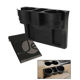 JAVOedge Black Car Extra Drink Holder, Holds 2 Drink in Middle Compartment, Fits in Between Seats + Bonus Storage Bag