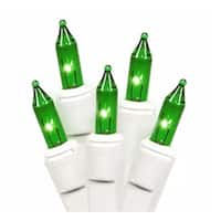 Set of 100 Green Everglow Mini Christmas Lights - White Wire