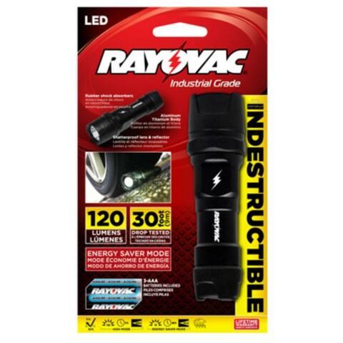 Rayovac DIY3AAA-B Virtually Indestructible LED Flashlight, 120 Lumen
