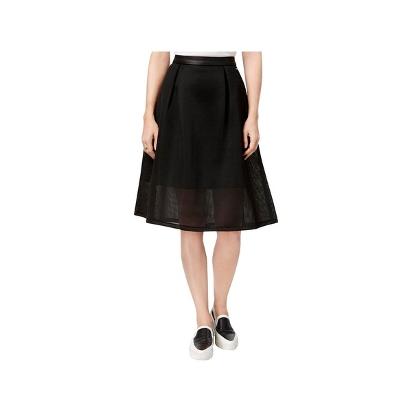 free shipping 371b0 b1954 Armani Jeans Womens A-Line Skirt Mesh Overlay Leather Trim