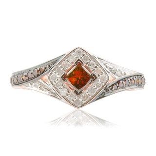 Brand New 0.52 Carat Princess and Round Shaped Cognac Diamond With Diamond Engagement Ring