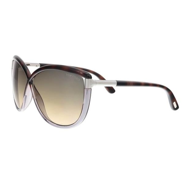 05f09ebb453e Shop Tom Ford FT0327 S 56B Abbey Havana Purple Oval Sunglasses - 63 ...