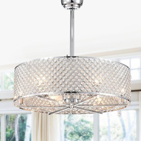 Miyaka Chrome 6-light Lighted Crystal Ceiling Fan