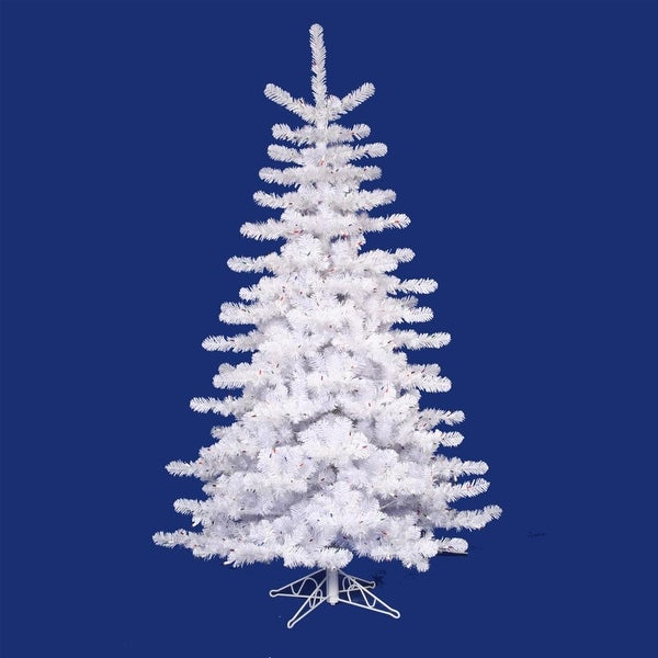 14' Pre-lit Crystal White Artificial Christmas Tree - Multi Lights