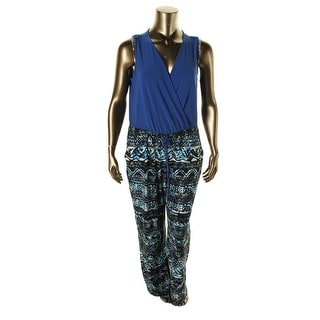 NY Collection Womens Plus Surplice Printed Jumpsuit