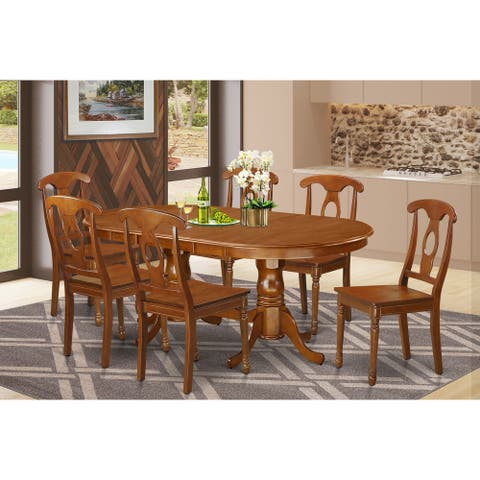 PLNA7-SBR 7 PC Dining room set-Dining Table with 6 Dining Chairs