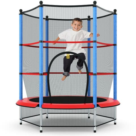 """55"""" Youth Jumping Round Trampoline with Safety Pad Enclosure-Blue - 55"""" Dia. x 64"""" H"""